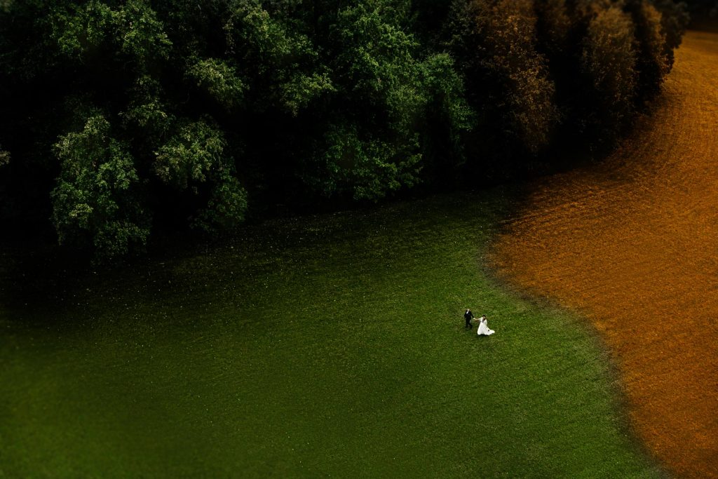 Vestuvių fotografija dronu